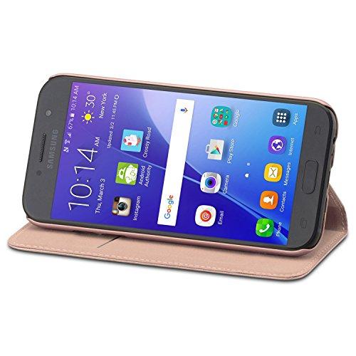 "CASEZA Samsung Galaxy A5 2017 Funda Rosa Oro Tipo Libro Piel PU Case Cover Carcasa Plegable Cartera Oslo Piel Vegana Premium para Galaxy A5 2017 (5.2"") Original - Ultrafina con Cierre Magnético"