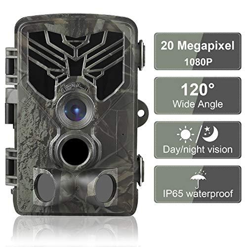 DIGITNOW! 20MP Cámaras de Caza 1080P FHD Impermeable,Gran Angular de 120° y 44pcs IR LED Infrarrojo Visión Nocturna con hasta 80FT/25m,Sendero Juego Camera, Cazar Vigilancia de la Fauna