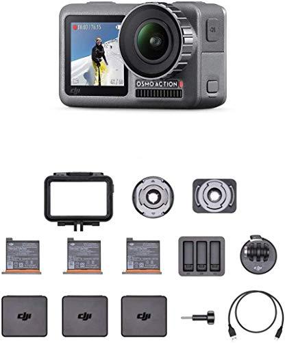 DJI Osmo Action Cam - Cámara Digital con Pantalla Doble, Resistente al Agua hasta 11 m, Estabilización Integrada, Foto y Video en 4K HDR a 100 Mbps, Control de Voz, Kit de Accesorios Incluido, Negro