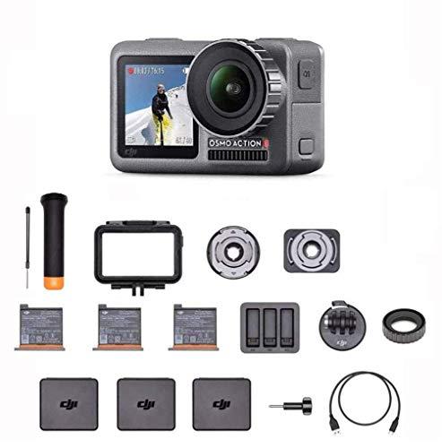 """DJI Osmo Action Prime Combo - Cámara Digital con Kit de Accesorios y Care Refresh, 12MP 1/2.3"""" CMOS, Dos Pantallas, Impermeable hasta 11m, Estabilización Integrada, Foto y Video en 4K HDR - Negro"""