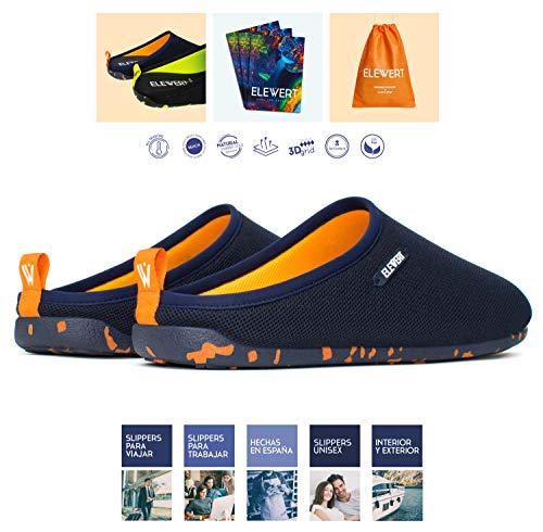 ELEWERT® - Natural-Lite-Navy-Orange - Zapatillas de Estar en casa Hombre/Mujer -Hechas en España- Lite -Verano/Invierno - Suela de Goma Antideslizante, Confort, Unisex, Rejilla, Transpirable. T.43