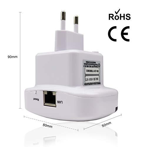 EXTRASTAR Repetidor de WiFi Extensor de Red WiFi Repeater Wireless Amplificador (2,4 GHz, 300 Mbps, Puerto Fast Ethernet, WPS, Modo Ap Punto Acceso y Extensor, Antenas internas)