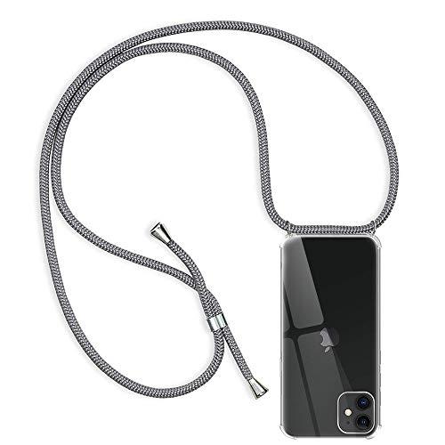 Funda con Cuerda para Apple iPhone 11, Transparente Silicona Carcasa para iPhone 11, Rosyheart Suave TPU Gel Case con Colgante Ajustable Correa Collar Anti Golpes Protector Case Gris
