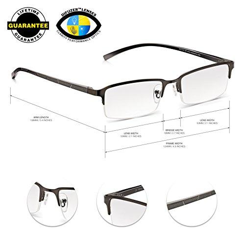 Gafas -Read Optics-Lentes de Lectura Hombre Vista Cansada: Gris Opaco Metalizado, Media Montura y Bisagras de Resorte. Transparentes con Antireflejos y Resistentes. Dioptrías +1/+1,5/+2/+2,5/+3/+3,5