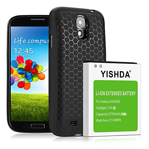 Galaxy S4recargable extendido, yishda 5700mAh Li-ion Batería para Samsung Galaxy S4, i9500, i9505, i9506(no para Galaxy S4Active), con Tapa Trasera y funda protectora [18meses de garantía]