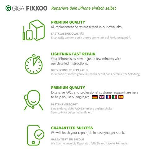 GIGA Fixxoo Kit Completo de Reemplazo de Pantalla iPhone 4 LCD Blanco; con Touchscreen, Cristal Retina Display, cámara y Sensor de proximidad - Fácil instalación y reparación guiada DIY