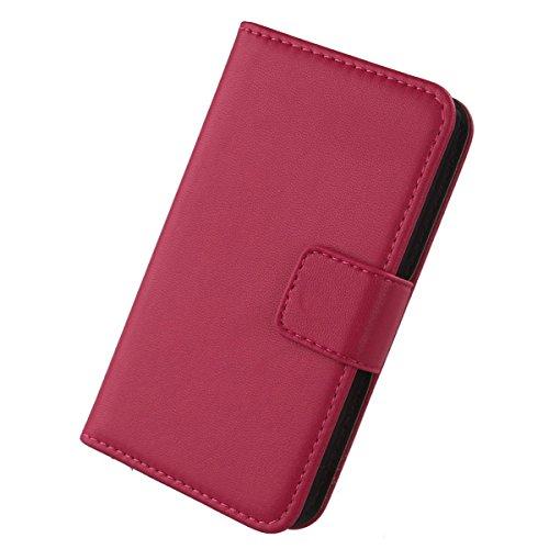 Gukas Design Genuino Cuero Case para Smartphone Primux Alpha 4 Flip Billetera Funda Carcasa De Lujo Autentico Ranuras Tarjetas Piel Premium Cover (Rosa)