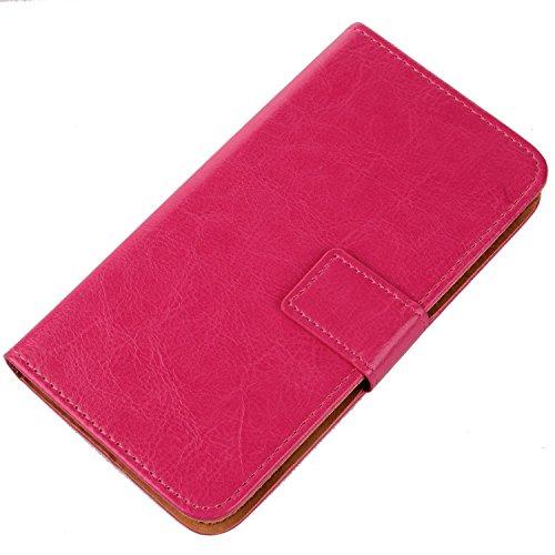 Gukas Flip PU Billetera Design Funda De Carcasa Cartera De Cuero Case Cover Piel para Primux Alpha 4 (Rosa)