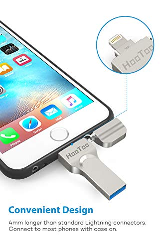 HooToo Memoria USB para iPhone y iPad 32GB, [Certificado MFI] Pendrive Memoria Flash 2 en 1 Compatible con iPhone y iPad, iPhone x/8/8plus/7/7 plus/6/6s/6s plus/5s, iPad, Mac, portatiles Windows
