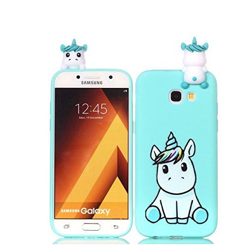 HopMore Funda para Samsung Galaxy A3 2017 Silicona Motivo 3D Divertidas Unicornio Panda Bonita TPU Gel Ultrafina Slim Case Antigolpes Cover Protección Carcasa Dibujo Gracioso - Unicornio