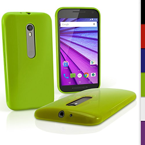 iGadgitz U3989 Funda de TPU Modelo U3989Compatible con Motorola Moto G 3a Generación XT1540 con película de protección, Color Verde