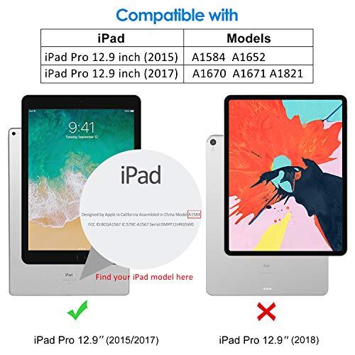JETech Funda Compatible iPad Pro 12,9 (Modelo 2015 y 2017), Carcasa con Auto-Sueño/Estela (Black)