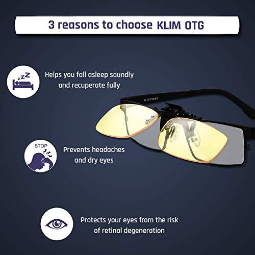 KLIM OTG - Gafas de Clip para Bloquear la luz Azul - Nuevas - Alta protección Frente a la Pantalla - Gafas Gaming para PC, móvil, TV - Anti Fatiga, Anti luz Azul - Filtran la luz Azul
