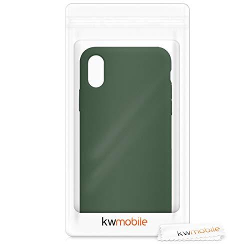 kwmobile Funda Compatible con Apple iPhone X - Carcasa de TPU para móvil - Cover Trasero en Verde Oscuro