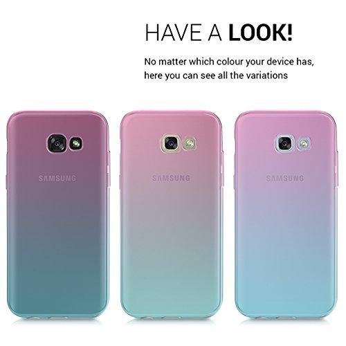 kwmobile Funda Compatible con Samsung Galaxy A5 (2017) - Carcasa de TPU Bicolor - Rosa Fucsia/Azul/Transparente