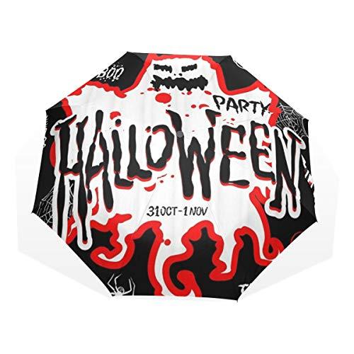 LASINSU Paraguas Resistente a la Intemperie,protección UV,Diseño de Fiesta de Truco o Trato de Halloween con búho Calavera de murciélago Nocturno de Calabaza