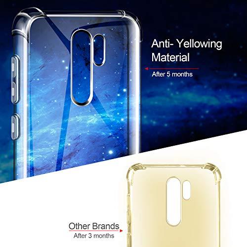 Leathlux Funda para Xiaomi Redmi 9, 2 Pack Cristal Templado Protector de Pantalla, Ultra Fina Silicona Transparente TPU Funda y Protector Airbag Anti-arañazos Carcasa para Xiaomi Redmi 9 6.6 in