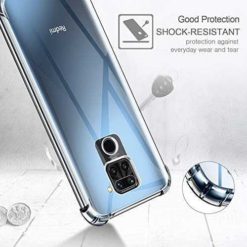 Leathlux Funda para Xiaomi Redmi Note 9, 2 Pack Crista Templado Protector de Pantalla, Ultra Fina Silicona Transparente TPU Funda y Protector Airbag Anti-arañazos Carcasa Xiaomi Redmi Note 9