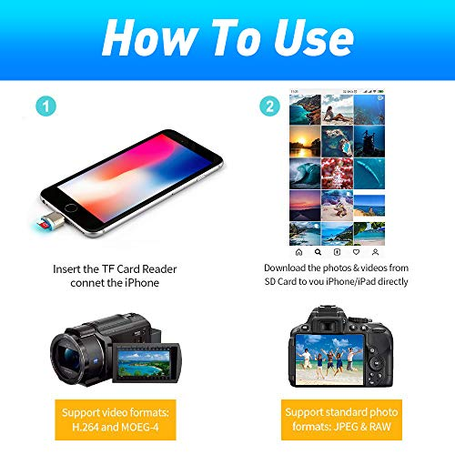 Lector de tarjetas Micro SD para Phone / Pad, lector de cámara de aluminio a tarjeta SD,lector de tarjetas de memoria Trail Game Camera para tarjeta Micro SD / tarjeta TF, Plug and Play