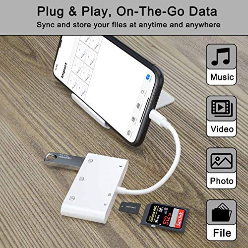 Lector de Tarjetas SD TF Hub 6 en 1 USB Adaptador de Cámara con 3 USB Hembra OTG, Lector de Tarjetas y Puerto de Carga Para Phone11 Xs XR/X/8/7/Pad,Compatible con USB Flash Drive, Ratón, Teclado