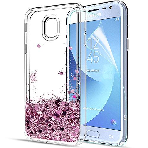LeYi Compatible con Funda Samsung Galaxy A3 2017 con HD Protectores de Pantalla,Silicona Purpurina Carcasa Transparente Cristal Bumper Telefono Gel TPU Fundas Case Cover para Movil A3 2017 Oro Rosa