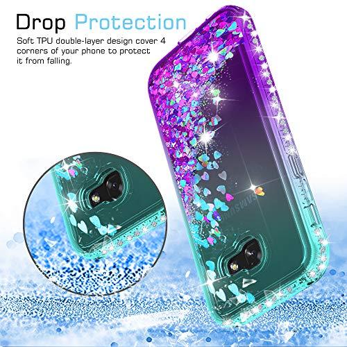 LeYi Compatible with Funda Samsung Galaxy A5 2017 Silicona Purpurina Carcasa con [2-Unidades Cristal Vidrio Templado],Transparente Cristal Bumper Telefono Fundas Case Cover para Movil A5 2017 Azul