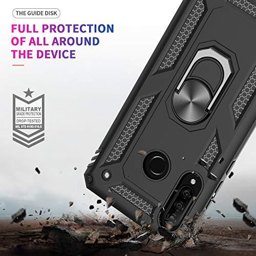 LeYi Funda Huawei P30 Lite / P30 Lite New Edition con [2-Unidades] Cristal Vidrio Templado,Armor Carcasa con 360 grados Anillo iman Soporte Hard PC y Silicona TPU Bumper Case para Movil P30 Lite,Negro