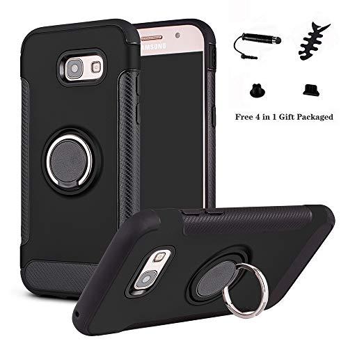 LFDZ Galaxy A5 2017 Anillo Soporte Funda 360 Grados Giratorio Ring Grip con Gel TPU Case Carcasa Fundas para Samsung Galaxy A5 2017 Smartphone(Not fit Galaxy A5 2015 /A5 2016),Negro