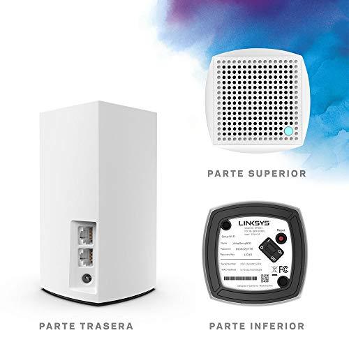 Linksys VLP0103 -Sistema Velop WiFi mesh dual band para todo el hogar (router/extensor WiFi AC3600, sin interrupciones, controles parentales, hasta 400 m², paquete de 3 nodos, color blanco)