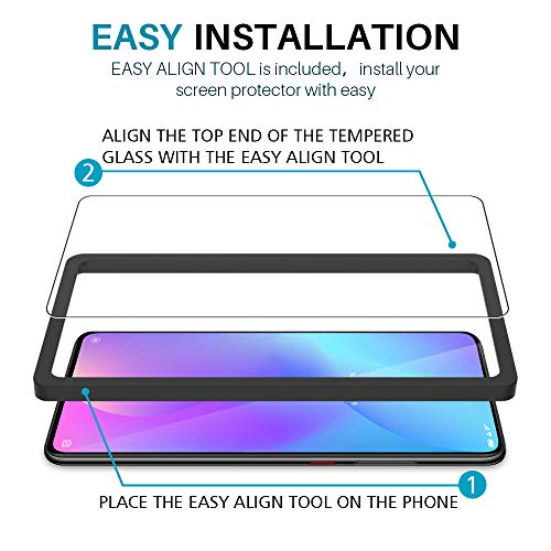 LϟK 3 Pack Protector de Pantalla para Xiaomi Mi 9T / Xiaomi Mi 9T Pro, Cristal Vidrio Templado Premium [Dureza 9H] [Funda Compatible] [Anti-Arañazos] [Sin Burbujas] [Kit Fácil de Instalar]