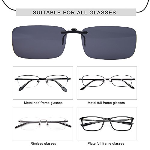 LUFF Polarizado Clip Unisex en Gafas de Sol para Anteojos Recetados-Buen Estilo de Clip Gafas de Sol para la Miopía Gafas al Aire Libre/Conducción/Pescar (Black)