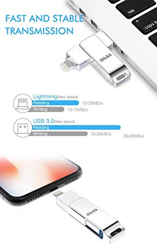 Memoria USB para iPhone y iPad [Certificado MFi] iDiskk 128B iPhone Pendrive Memoria Flash USB Compatible con iPad iOS13 PC Macbook