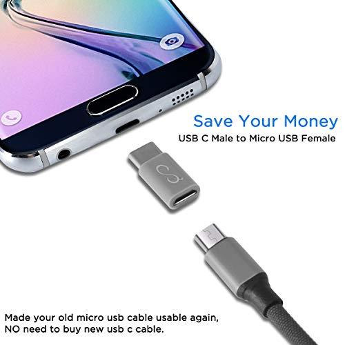 MEYUEWAL Adaptadores Micro USB a USB C, Convierte Tipo C Hembra a Micro USB Convertidor de Datos Macho para Android Samsung Galaxy S7 S6 Edge Note 5 LG G4 Nexus 5/6 Más (6Pack)