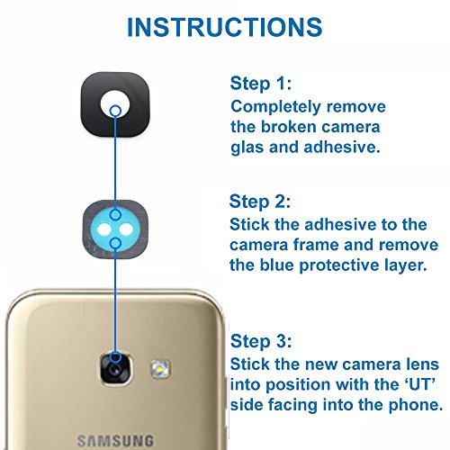 MMOBIEL Reemplazo de Lente para Cámara Trasera (Posterior) Compatible con Samsung Galaxy A3 A320/ A5 A520/ A7 A720 2017