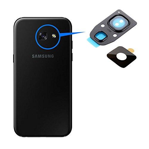 MMOBIEL Repuesto Lente para Cámara Trasera Compatible con Samsung Galaxy A3 / A5 / A7-2017 (Negro) Incl Pinzas