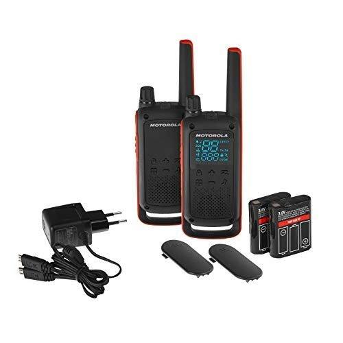 Motorola T82 - Walkie Talkie, color negro y naranja, paquete de 2 unidades