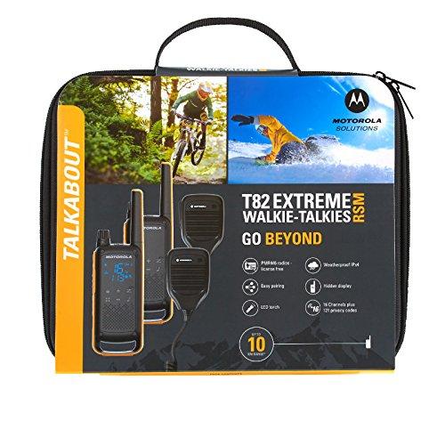 Motorola Talkabout T82 Extreme RSM –Alcance hasta 10 Km, pantalla oculta, linterna LED, Walkie Talkie, color negro y amarillo