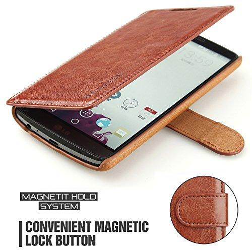 Mulbess Funda LG G3 [Libro Caso Cubierta] [En Capas de Billetera Cuero] con Tapa Magnética Carcasa para LG G3 Case, Marrón