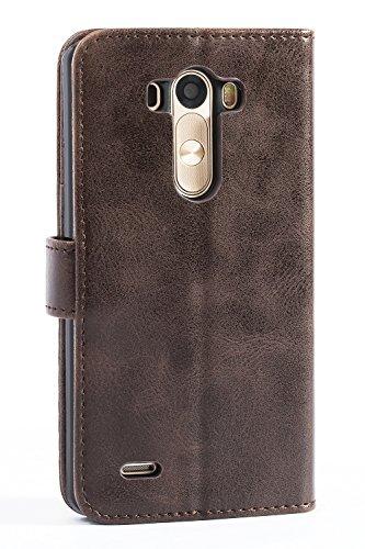 Mulbess Funda LG G3 [Libro Caso Cubierta] [Vintage de Billetera Cuero] con Tapa Magnética Carcasa para LG G3 Case, Vintage Marrón