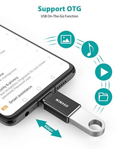NIMASO Adaptador USB Tipo C a USB 3.0(4 Piezas), con OTG USB Type C Conector para MacBook Pro 2019/2018, MacBook Air 2018,ChromeBook Pixel, Nokia N1 y Otros Dispositivos con USB C(Negro)