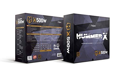 Nox Hummer X 500W 80 Plus Bronze - NXHUMMERX500WBZ - Fuente de Alimentación (500 W), Color Negro