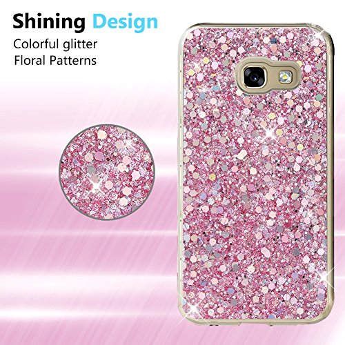 OKZone Funda Samsung Galaxy A5 2017, Cárcasa Brilla Glitter Brillante TPU Silicona Teléfono Smartphone Funda Móvil Case [Protección a Pantalla y Cámara] para Samsung Galaxy A5 2017 (Rosado)
