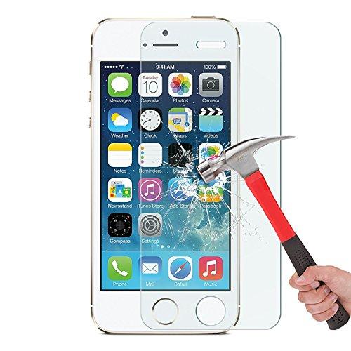 OMOTON Protector de pantalla de vidrio templado con borde redondo 2.5D, resistente a los arañazos para iPhone SE, 5S, 5C y 5 [2 paquetes] [Transparente]
