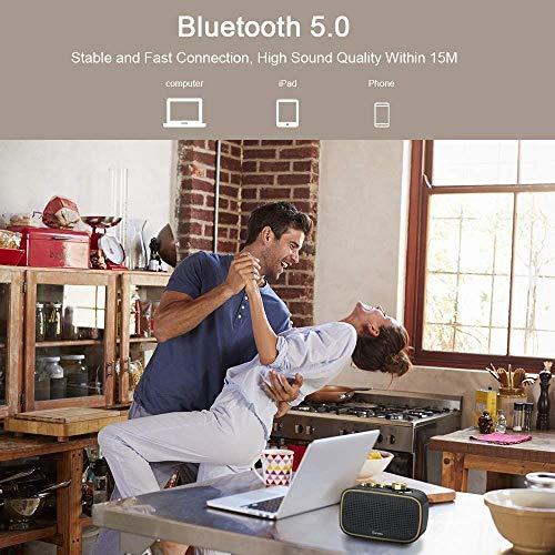 Onforu Altavoz Portatil Bluetooth Vintage, Altavoz Inalámbrico Retro con 20 Horas de Reproducción, 20w Audio IPX5 Impermeable Bluetooth 5.0 Portátil con Micrófono, Sonido Estéreo Potente Móvil PC