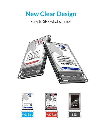 """ORICO Caja Disco Duro 2.5 """", Carcasa Disco Duro USB 3.0 con UASP, Adaptador Disco Duro para HDD SSD SATA I/II/III de 7mm y 9.5mm de Altura, No Requiere Herramientas, LED Indicador [Transparente]"""