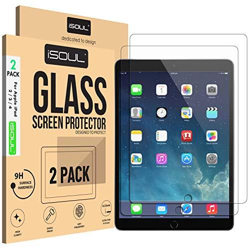 [Paquete DE 2] Protector de Pantalla para Apple iPad 2 3 4 película de Vidrio Templado 9h HD, [Versiones Antiguas] Protectores de protección [Borde Redondo de 2.5 D] [Resistente a los arañazos]