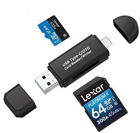 Philonext USB 3.0 lector de tarjetas de memoria, USB tipo C SD/Micro SD Lector de tarjetas OTG Adaptador Para SDXC, SDHC, SD, MMC, RS-MMC, Micro SDXC, Micro SD, Micro SDHC