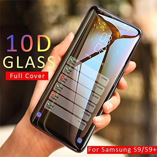 PmseK Protector de Pantalla,Vidrio Templado,10D Full Cover Tempered Glass For Galaxy A7 2108 Note 9 8 Cristal Templado For Galaxy S8 S9 A6 A8 Plus New S7 Edge Film For Galaxy S9 Black