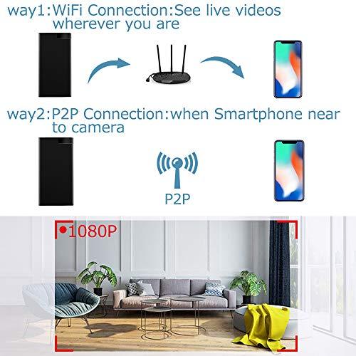 Power Bank WiFi Cámara Oculta, Cámara Oculta Espía UYIKOO 2 In 1 Cámaras Espía WiFi & 10000mAh de Energía Móvil con Visión Nocturna y Detección de Movimiento para la Ver en Tiempo Real de App