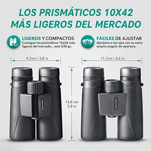 Prismáticos 10x42 Slokey - Binoculares Profesionales y Potentes con Gran Alcance. Ligeros e Impermeables, Prismas BaK4 y FMC. Ideales para Observación de Aves, Caza, Senderismo, Astronomía y Camping.